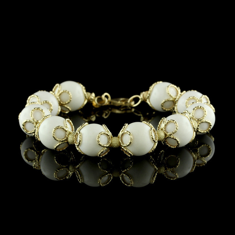 14K Yellow Gold White Coral Bead Bracelet