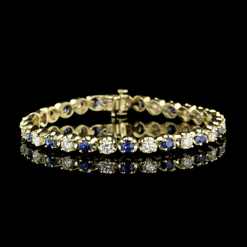 14K Yellow Gold Diamond and Sapphire Line Bracelet