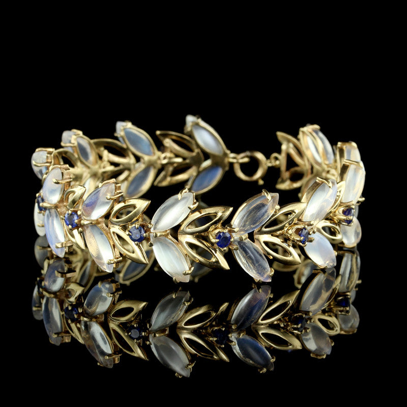 14K Yellow Gold Moonstone and Sapphire Bracelet
