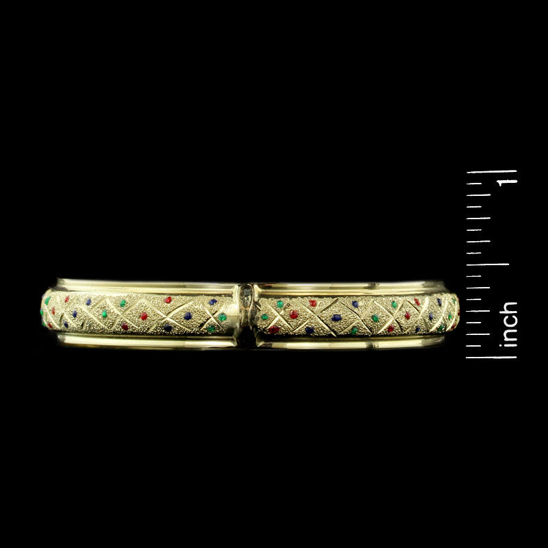 14K Yellow Gold Enamel Bangle
