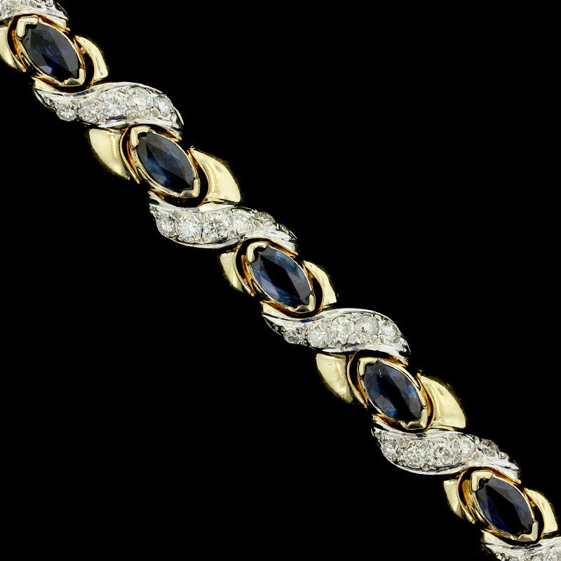 14K Yellow Gold Sapphire and Diamond Bracelet