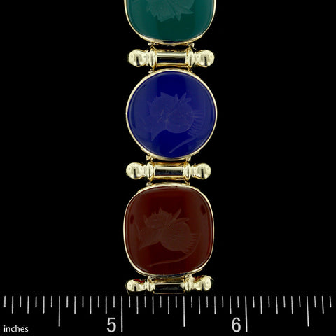 14K Yellow Gold Hard Stone Intaglio Bracelet