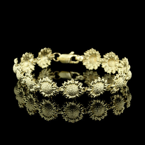 14K Yellow Gold Sunflower Bracelet