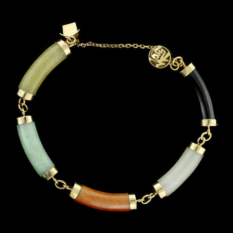 14K Yellow Gold Jade Bracelet