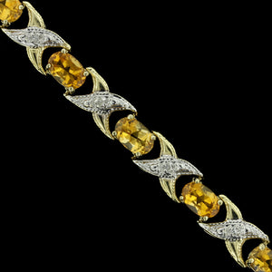 14K Yellow Gold Citrine and Diamond Bracelet
