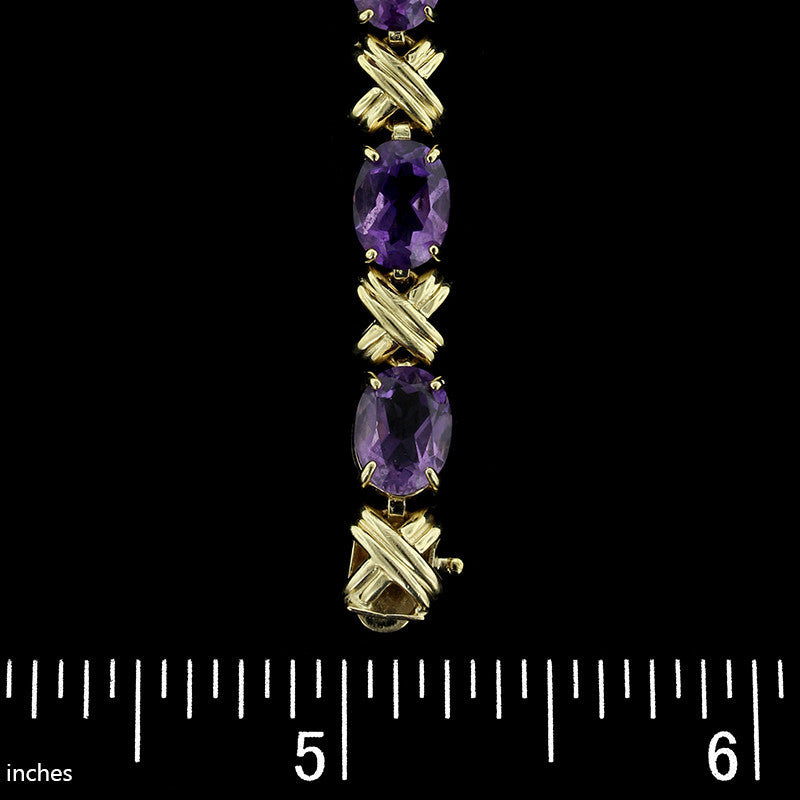 14K Yellow Gold Amethyst Bracelet