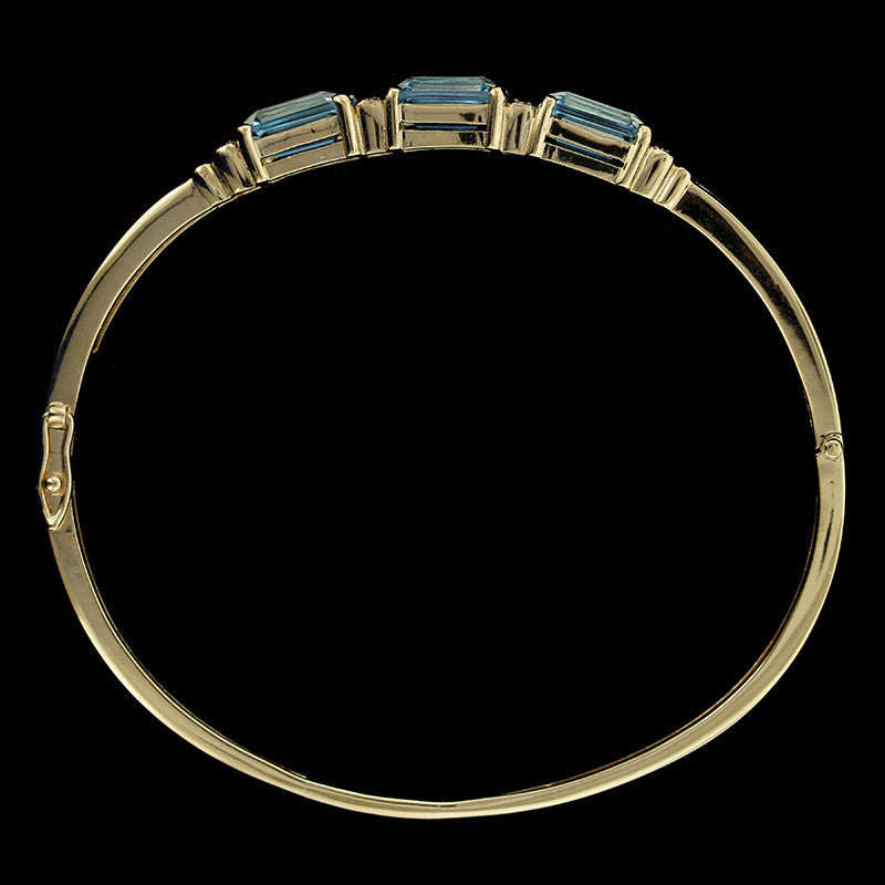 14K Yellow Gold Blue Topaz and Diamond Bangle