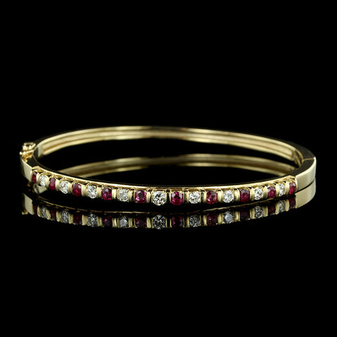 14K Yellow Gold Ruby and Diamond Bangle