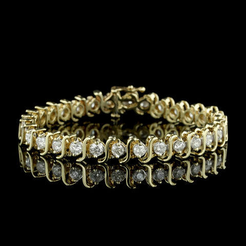 14K Yellow Gold Diamond Tennis Bracelet