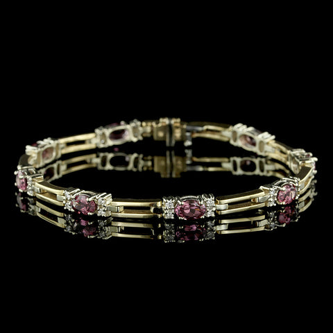14K Two-tone Gold Rhodolite Garnet and Diamond Bracelet
