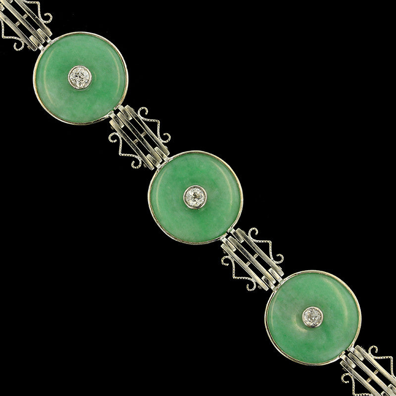 14K White Gold Jadeite and Diamond Bracelet