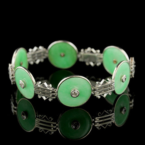 14K White Gold Jade and Diamond Bracelet