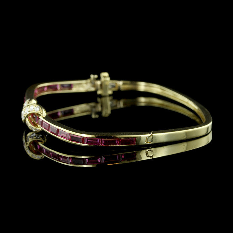 18K Yellow Gold Ruby and Diamond Bracelet