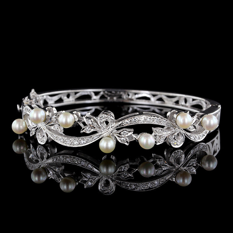 14K White Gold Pearl and Diamond Bangle