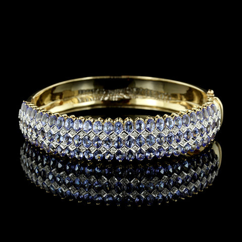 14K Yellow Gold Tanzanite and Diamond Bangle