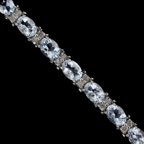 14K White Gold Aquamarine and Diamond Bracelet