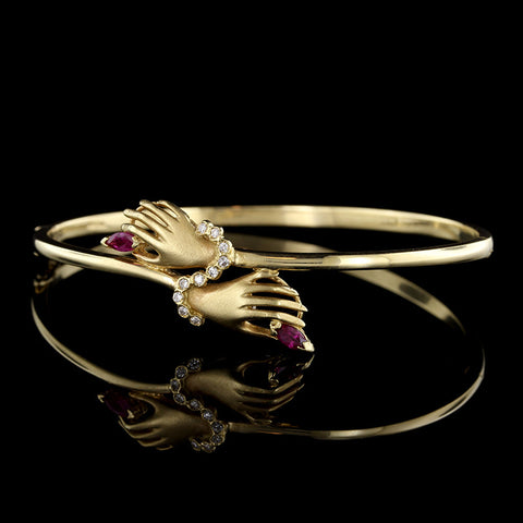 18K Yellow Gold Ruby and Diamond Hand Bangle