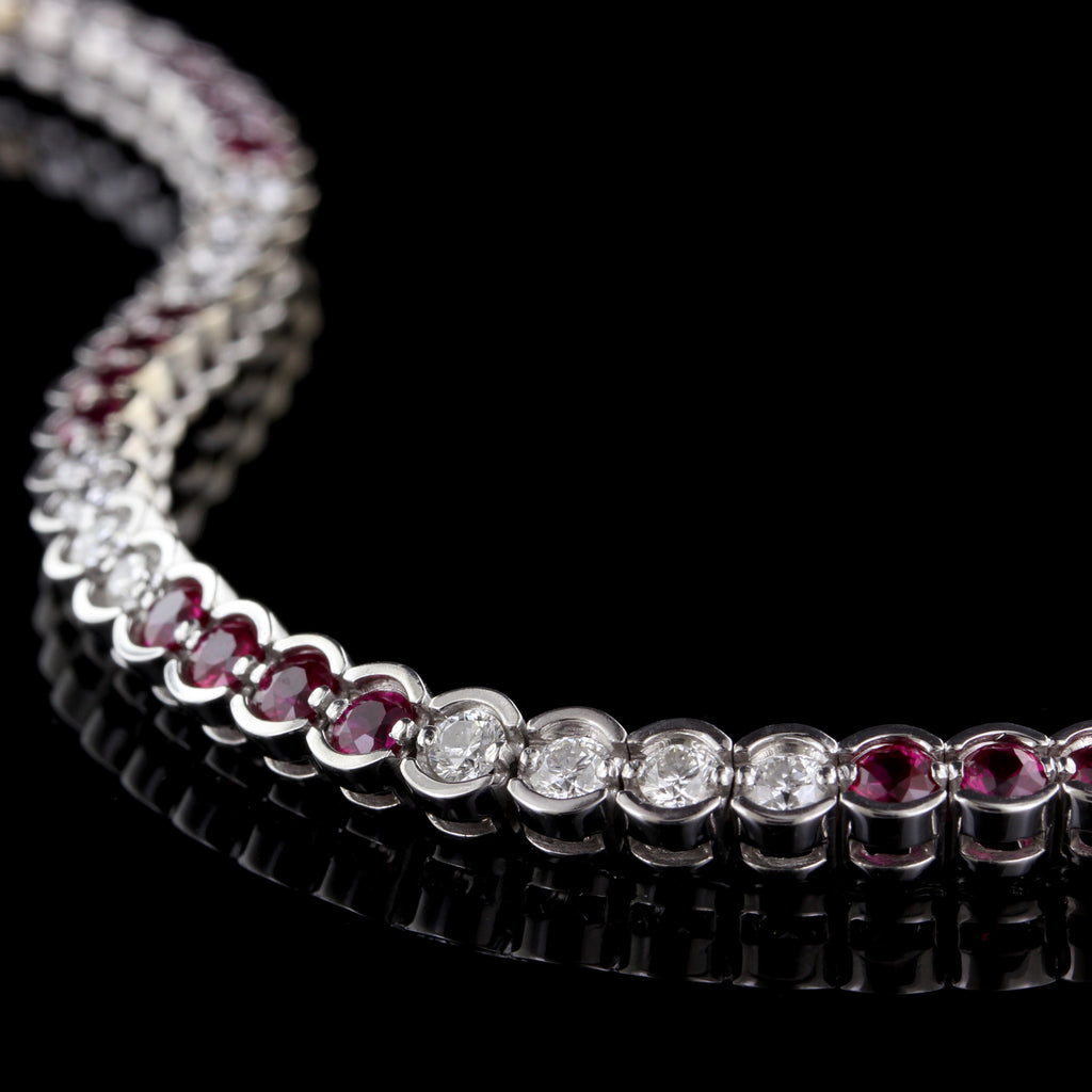 18K White Gold Ruby and Diamond Bracelet