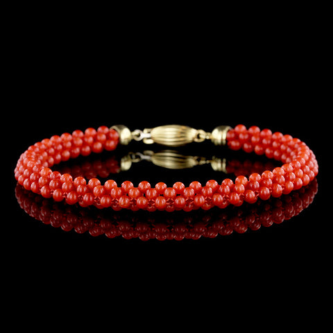 18K Yellow Gold Coral Bracelet.