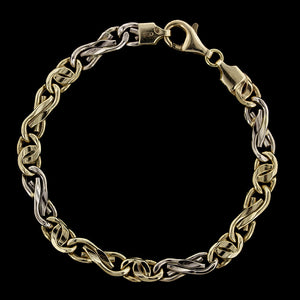 14K Two-tone Gold Fancy Link Bracelet