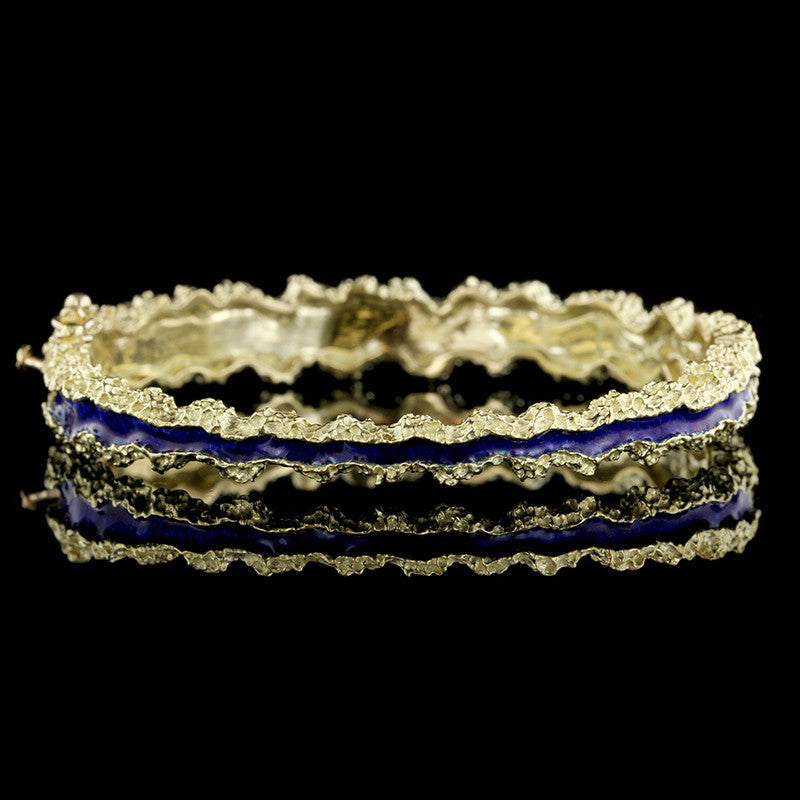 18K Yellow Gold Enamel Bangle