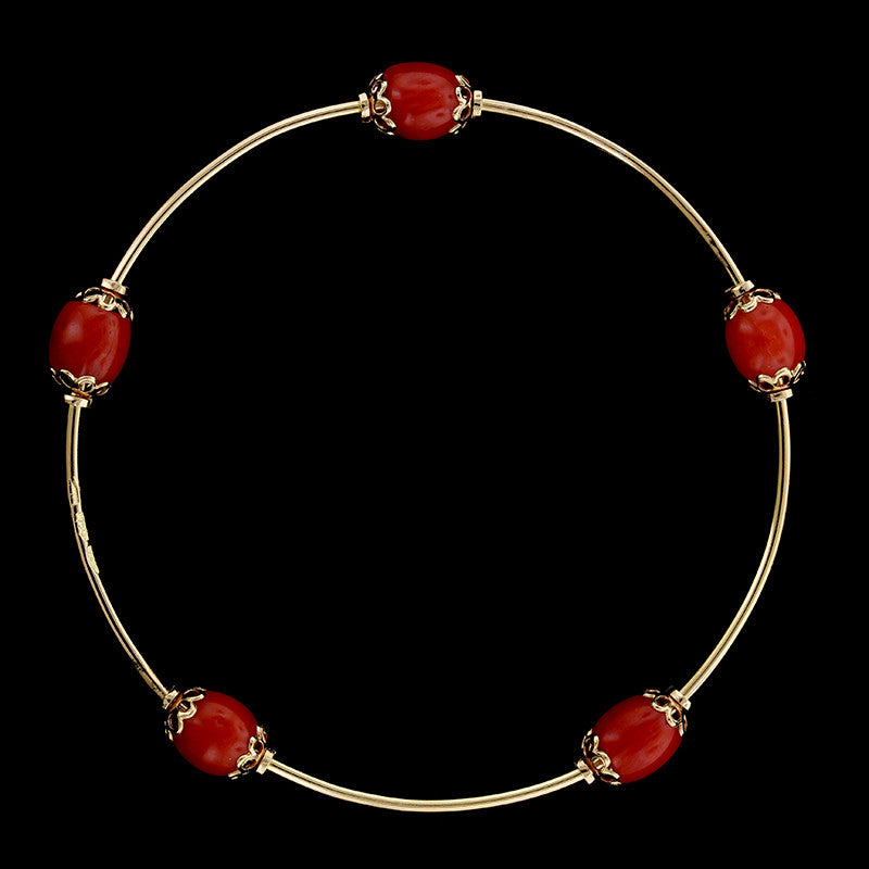 18K Yellow Gold Coral Bead Bangle