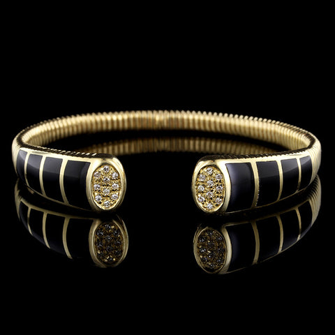 18K Yellow Gold Onyx and Diamond Bracelet