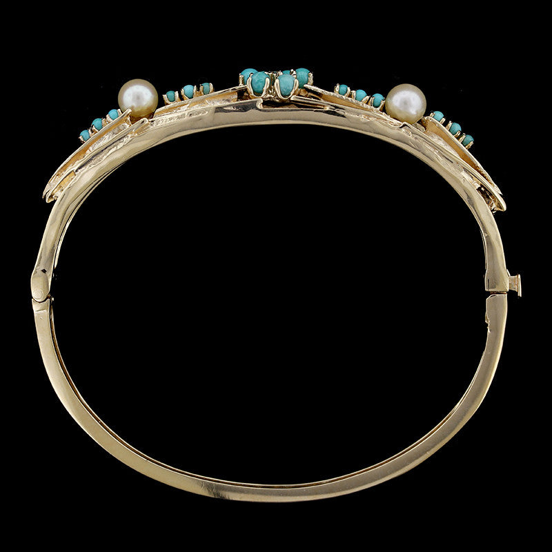 14K Yellow Gold Turquoise, Cultured Pearl and Diamond Bangle