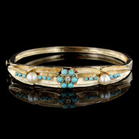 14K Yellow Gold Turquoise, Pearl and Diamond Bangle
