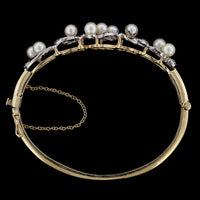 14K Two-Tone Gold Estate Cultured Pearl and Diamond Bangle