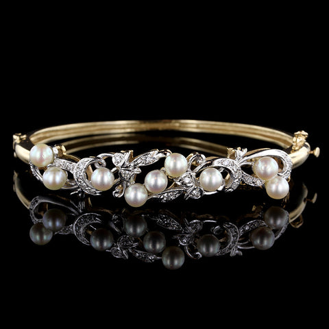 14K Two-tone Gold Pearl and Diamond Bangle