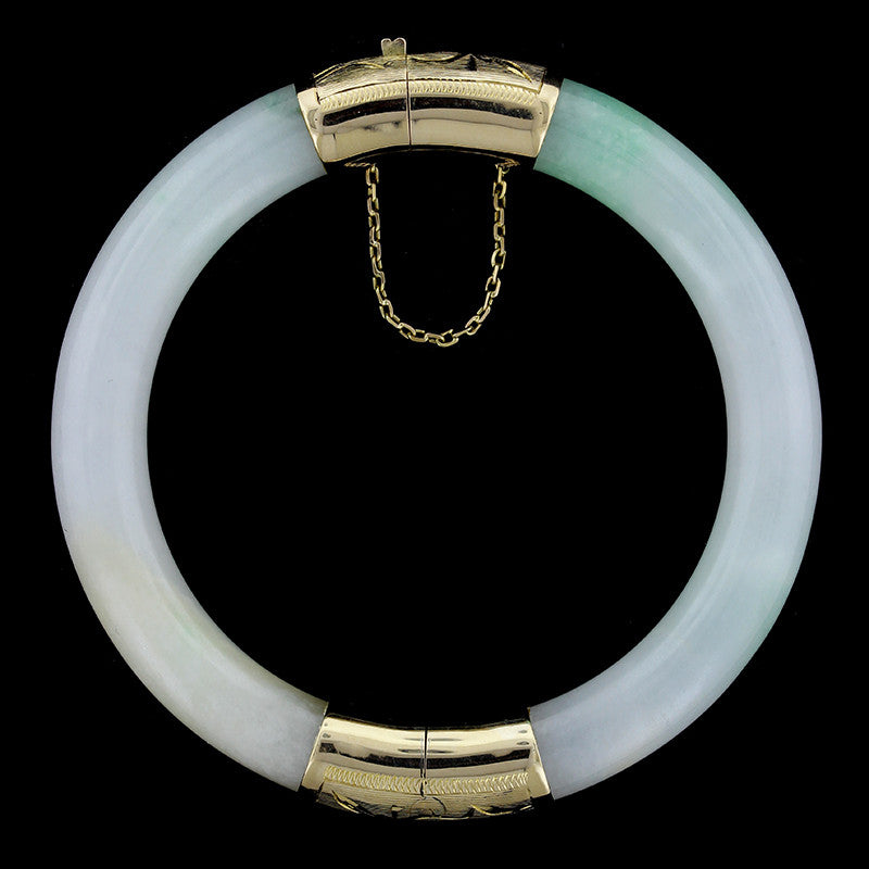 14K Yellow Gold Estate Jadeite Bangle