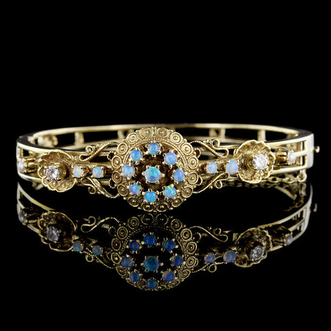 14K Yellow Gold Opal, Pearl and Diamond Bangle