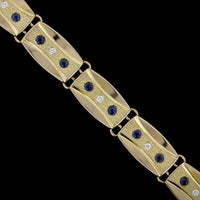 Potter & Mellen 14K Yellow Gold Sapphire and Diamond Bracelet