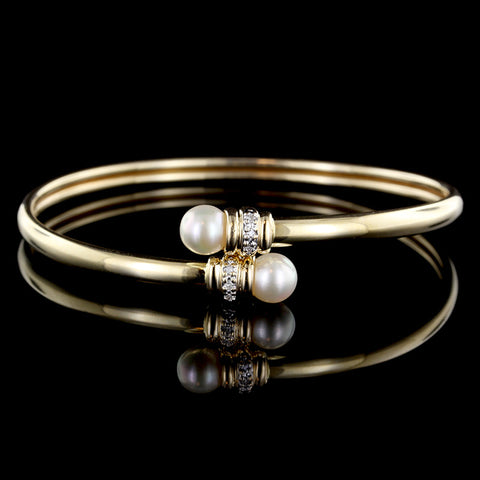 14K Yellow Gold Cultured Pearl and Diamond Bangle