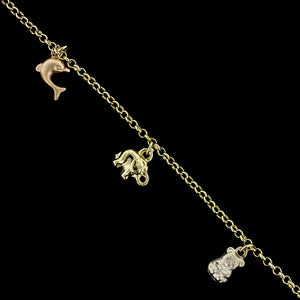 14K Yellow Gold and Rose Gold Charm Bracelet