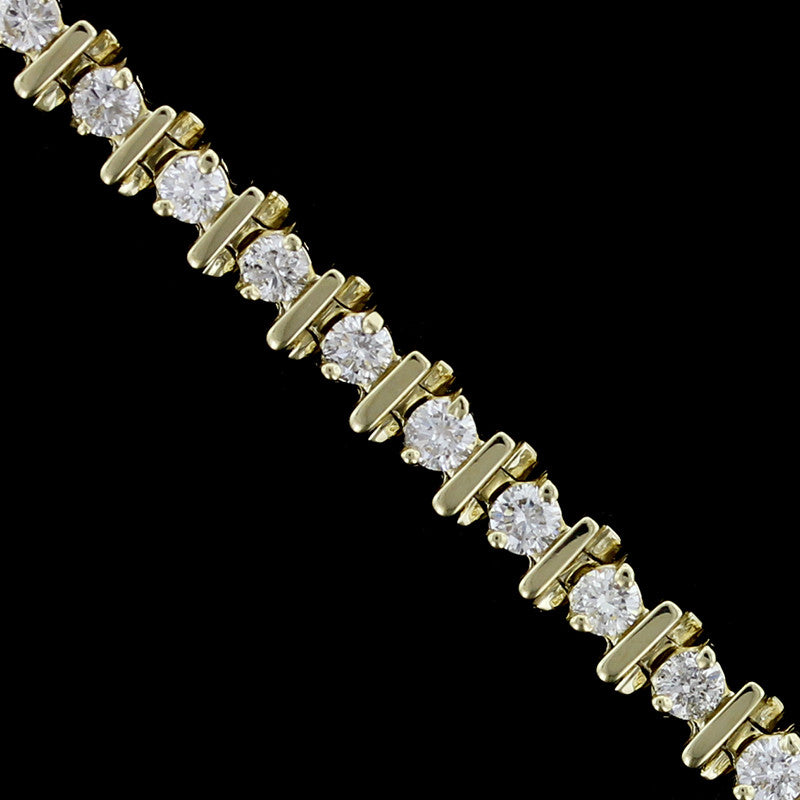14K Yellow Gold Estate Diamond Tennis Bracelet