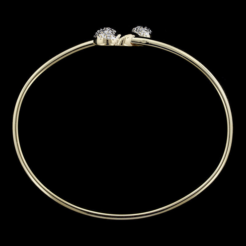 14K Two-Tone Gold Diamond Bangle