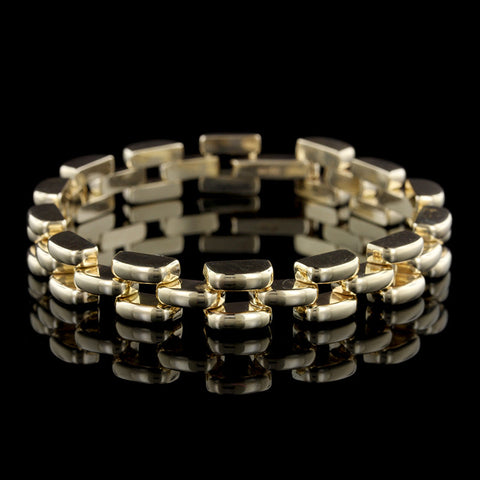 14K Yellow Gold Panther Link Bracelet