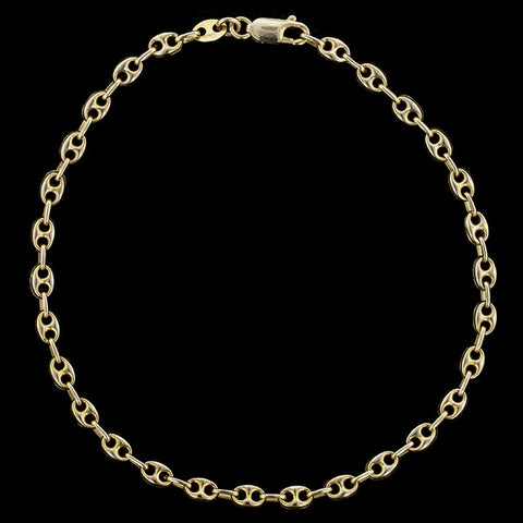 14K Yellow Gold Anchor Link Chain Anklet