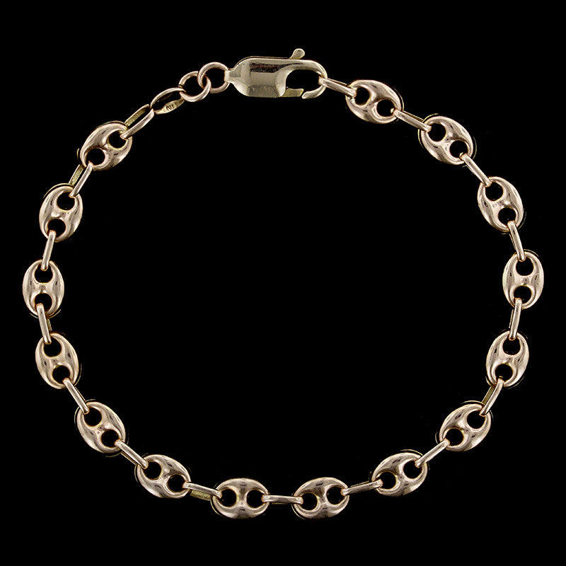 14K Yellow Gold Anchor Link Chain Bracelet