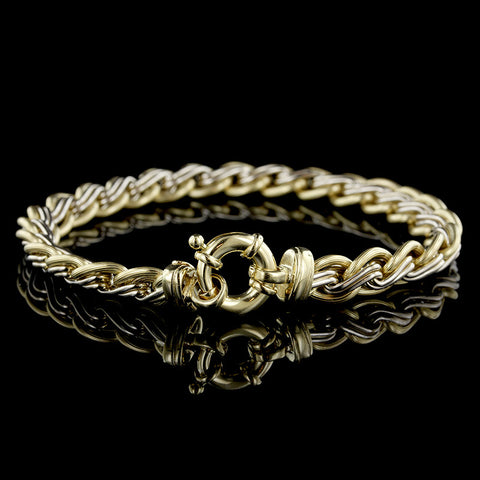 18K Two-tone Gold Fancy Link Bracelet