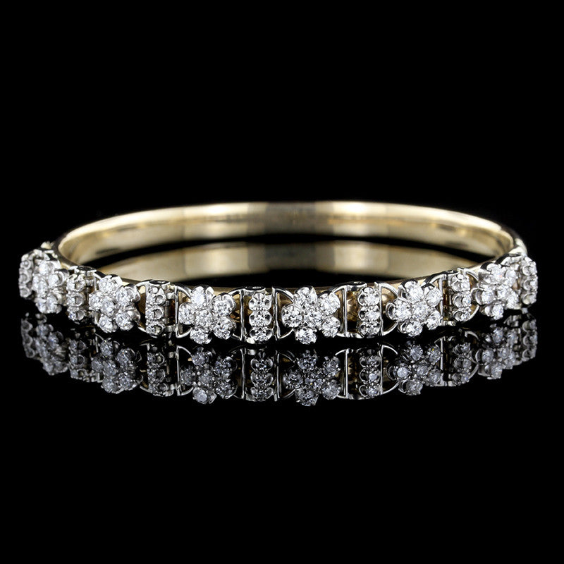 14K Two-tone Diamond Bangle