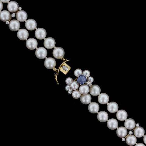 18K Yellow Gold Cultured Pearl, Diamond and Blue Star Sapphire Bracelet