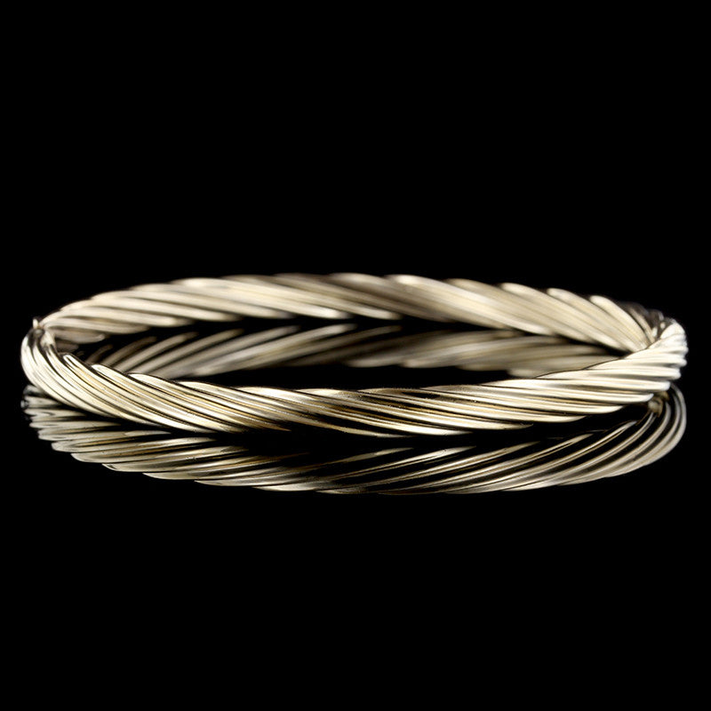 14K Yellow Gold Twisted Bangle Bracelet