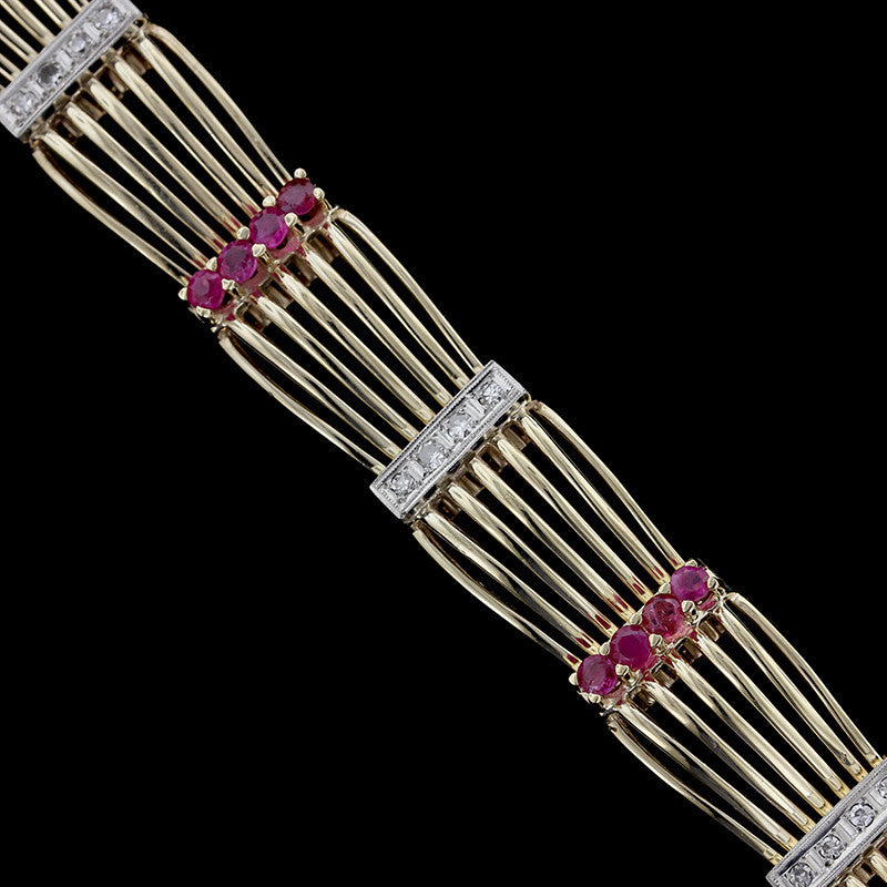 Vintage Retro 14K Yellow Gold Ruby and Diamond Bracelet