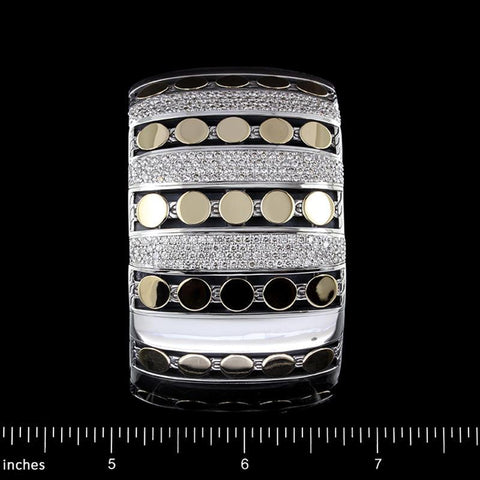 John Hardy Sterling Silver and 18K Yellow Gold Estate Dot Diamond Cuff Bracelet