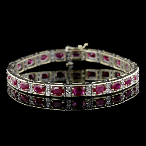 14K Two-tone Gold Ruby and Diamond Bracelet