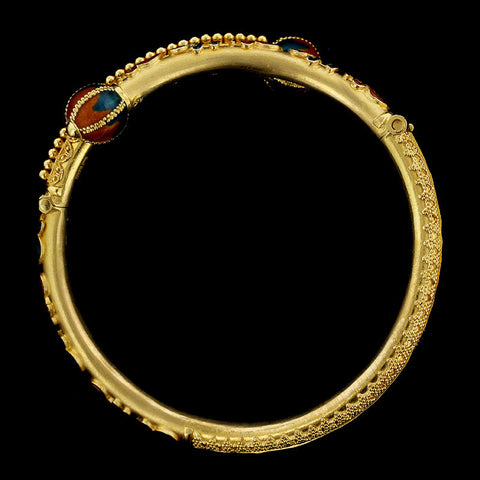 22K Yellow Gold Enamel Bangle