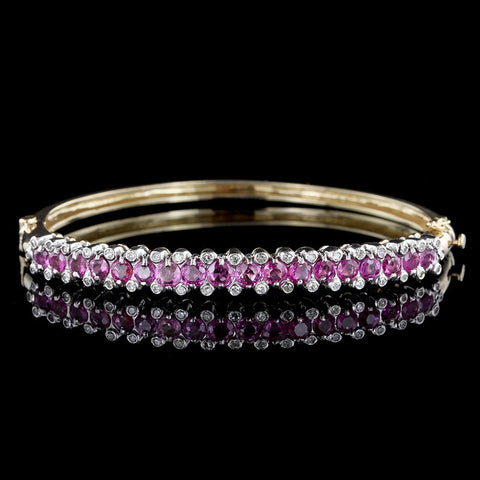 14K Two-tone Pink Sapphire and Diamond Bangle